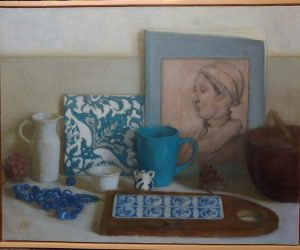 Ady Graff still life with blue marble 40 x 51 cm oil on linen